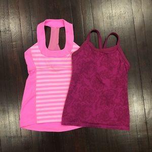 2 Pink Lululemon Workout Tanks